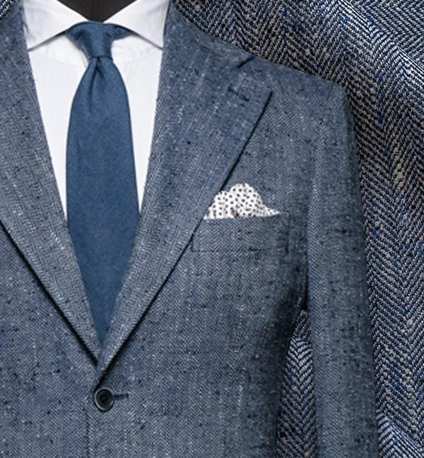 blazer sur mesure bleu tweed été style italien
