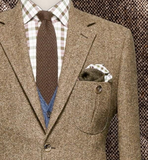 costume privé paris blazer donegal tweed marron