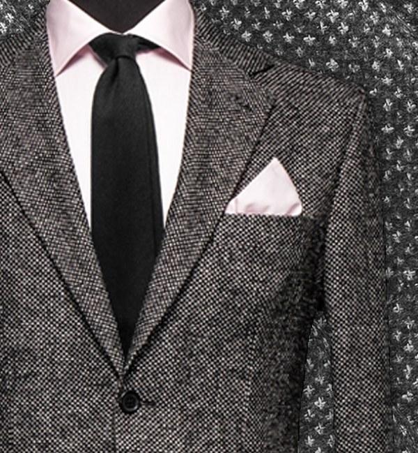 costume sur mesure tissu gris caviar