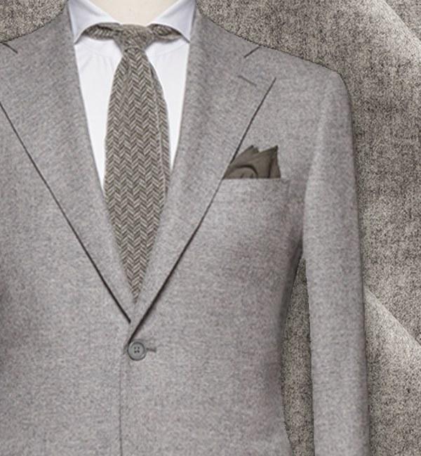 costume sur mesure tissu gris clair flanelle