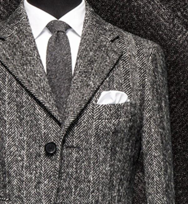 costume privé manteau sur mesure cachemire gris chevrons