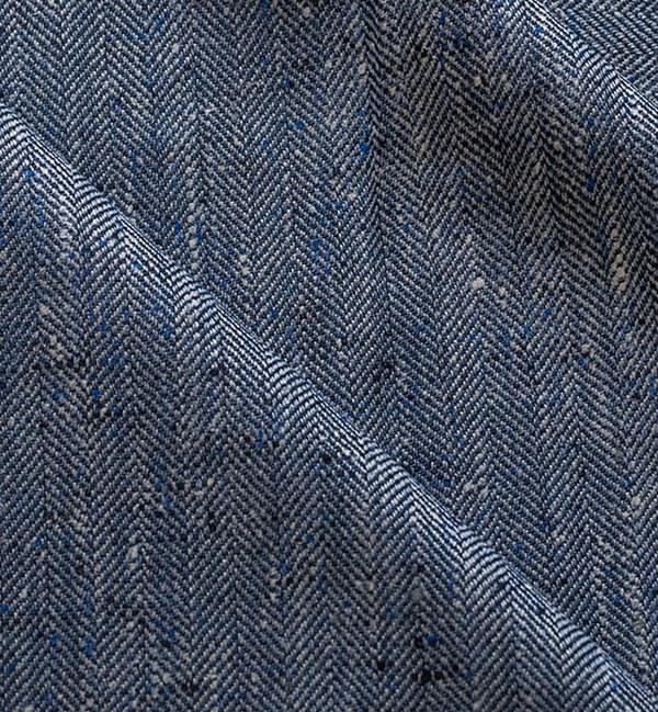 costume sur mesure privé tissu bleu clair chevrons donegal