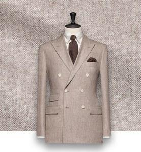 blazer beige flanelle sur-mesure tailleur costume privé paris