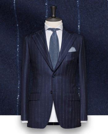 costume à rayures bleu Flanelle rayures tailleur Paris costume sur mesure