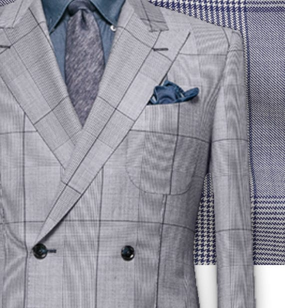 Costume Bleu Prince de Galles clair tailleur costume sur mesure paris