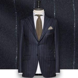 Costume bleu nuit Flanelle rayures tailleur costume sur mesure paris