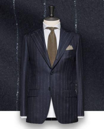 Costume bleu nuit Flanelle rayures tailleur costume privé paris