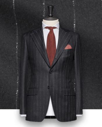 Costume gris Flanelle rayures craie tailleur costume privé paris