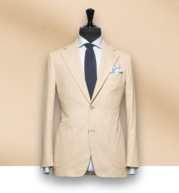 costume sur-mesure coton beige tailleur paris