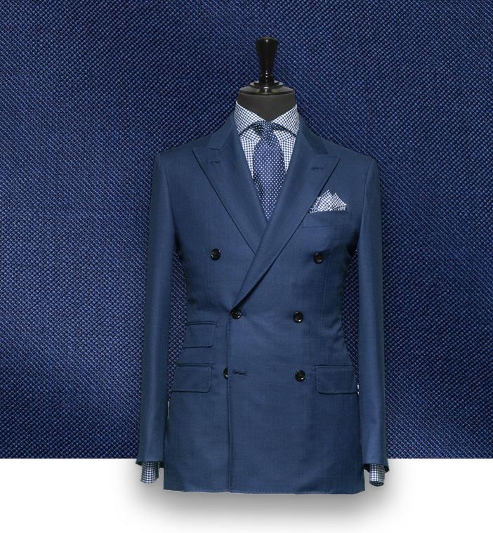 Costume bleu uni croisé costume sur mesure