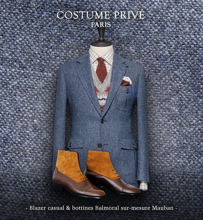blazer bleu tweed bottines Mauban sur mesure
