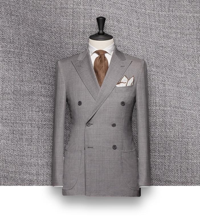 costume gris croisé costume sur mesure