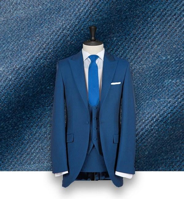 costume bleu indigo cérémonie sur-mesure