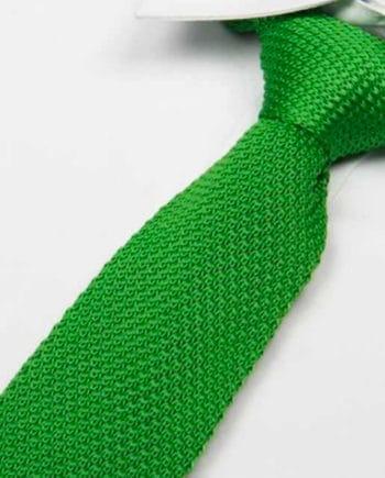 cravate tricot vert intense maille cravate italienne