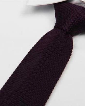 cravate tricot violet foncé maille cravate italienne violet foncé