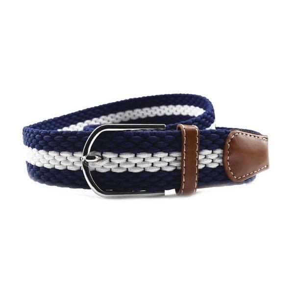 ceinture tressée grosse maille bleu blanc