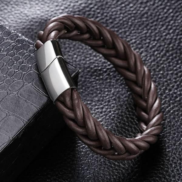 bracelet homme cuir tressé rond