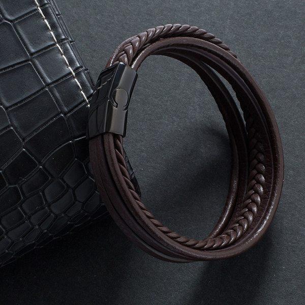 bracelet homme cuir triple rang