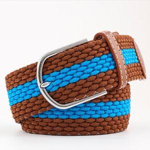 ceinture tressée bleu marron ligne