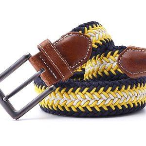 ceinture tressée jaune bleu diagonale fleche