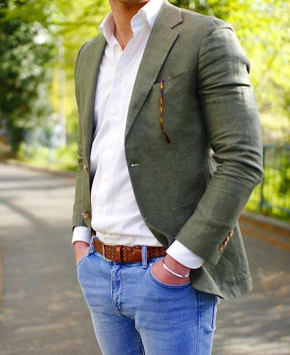 blazer lin veste vert sur-mesure paris
