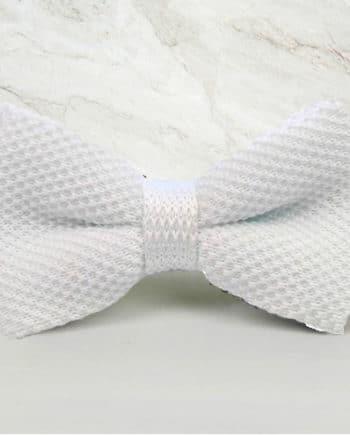 noeud papillon tricot blanc mariage cérémonie maille tricot