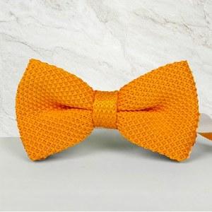 noeud papillon tricot jaune orange mariage cérémonie maille tricot