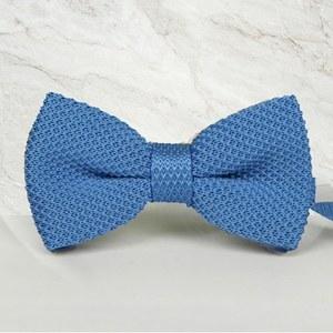 noeud papillon tricot bleu clair mariage cérémonie maille tricot