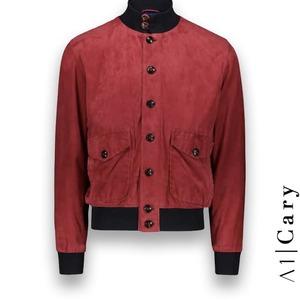 Blouson suède rouge A1 Cary costume privé paris fabrication sur mesure Italie