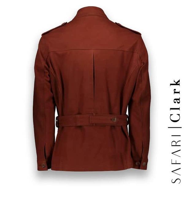 Veste Safari Nubuck orange Clark costume privé paris fabrication sur mesure Italie