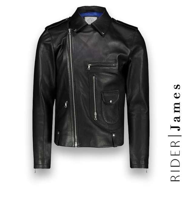 Blouson biker Cuir Noir James costume privé paris fabrication sur mesure Italie