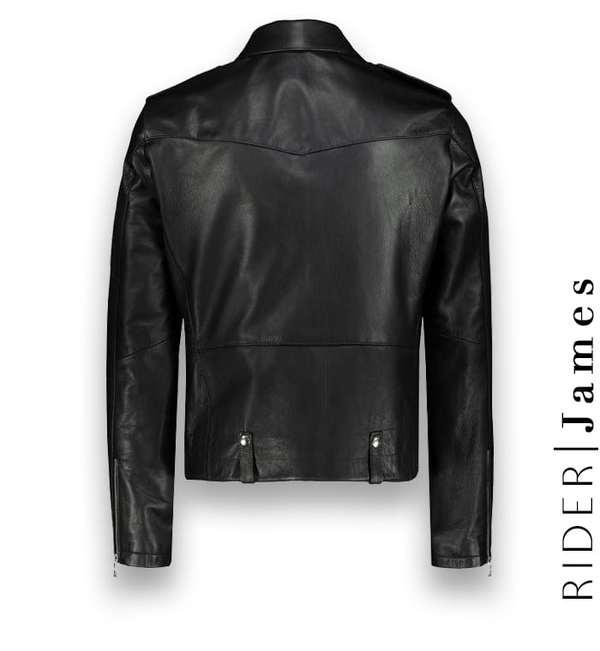 Blouson biker Cuir Noir James Atacama costume privé paris fabrication sur mesure Italie