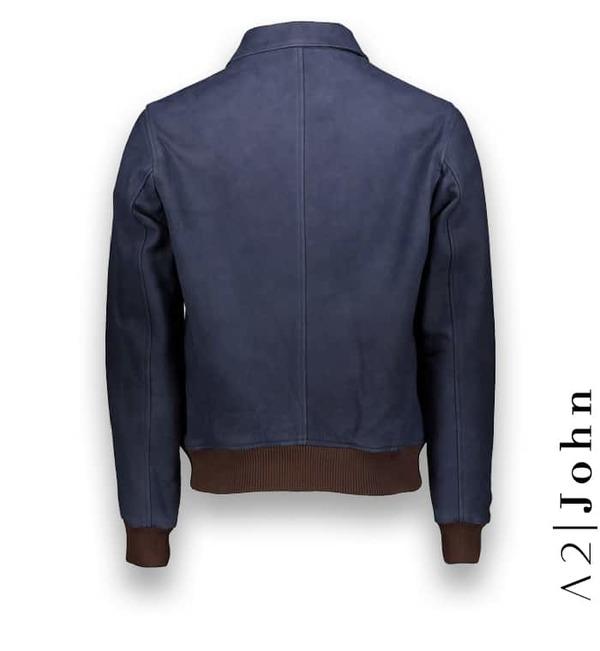Blouson Nubuck bleu A2 costume privé paris fabrication sur mesure Italie