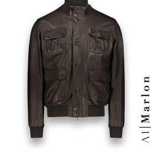 Blouson Cuir marron foncé A1 Marlon costume privé paris fabrication sur mesure Italie