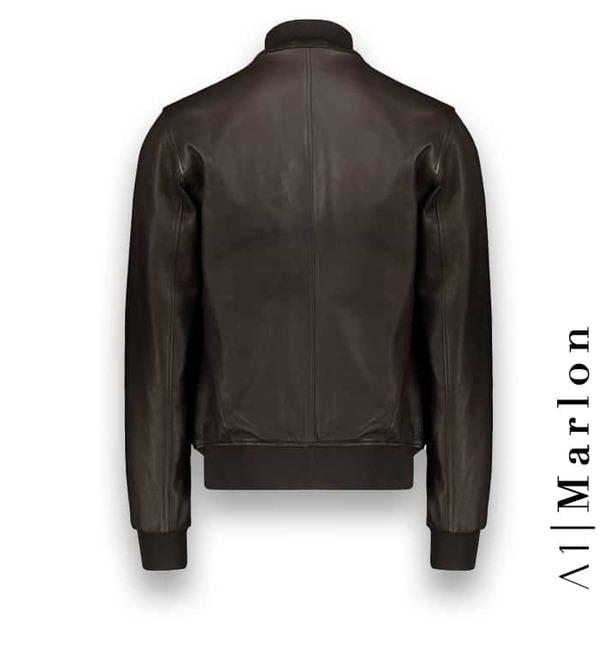 Blouson Cuir marron foncé A1 Marlon Atacama costume privé paris fabrication sur mesure Italie