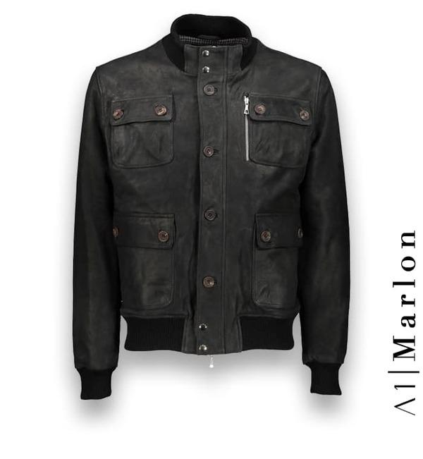 Blouson Cuir noir A1 Marlon costume privé paris fabrication sur mesure Italie
