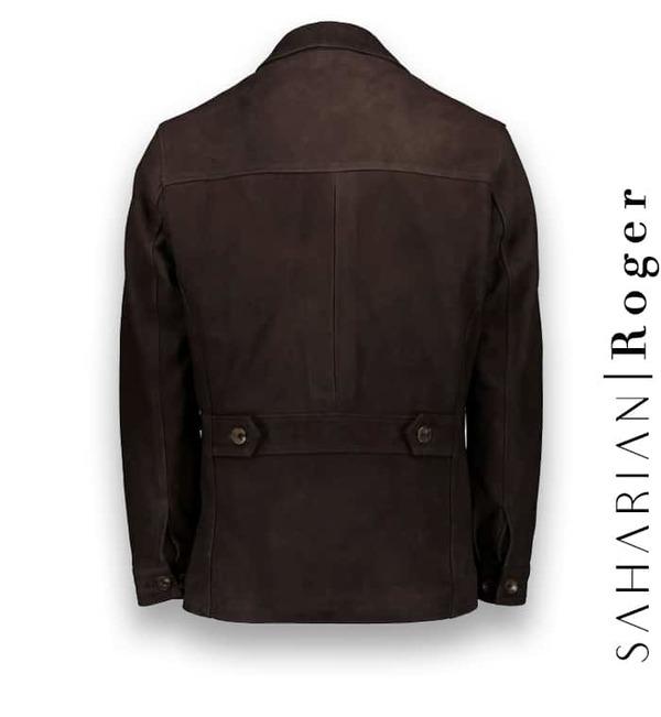 Saharienne Nubuck marron Roger Atacama costume privé paris fabrication sur mesure Italie