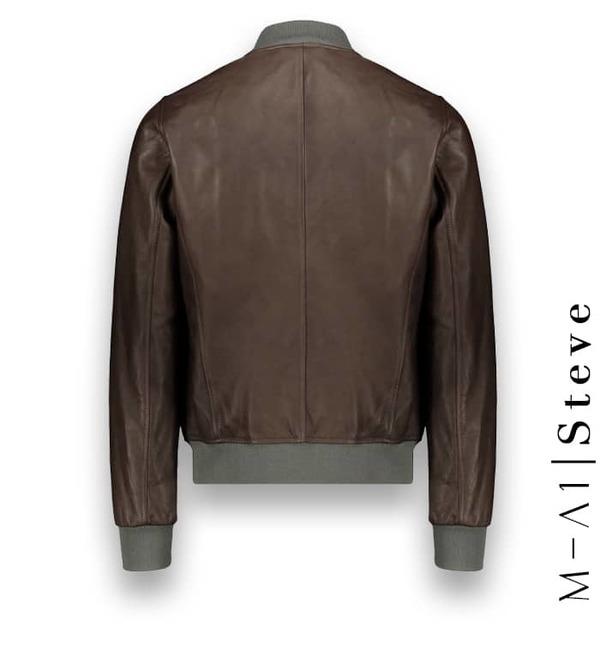 Blouson Cuir marron glacé MA1 Steve costume privé paris fabrication sur mesure Italie