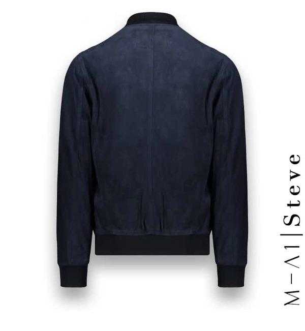 Blouson Suede bleu MA1 Steve Atacama costume privé paris fabrication sur mesure Italie
