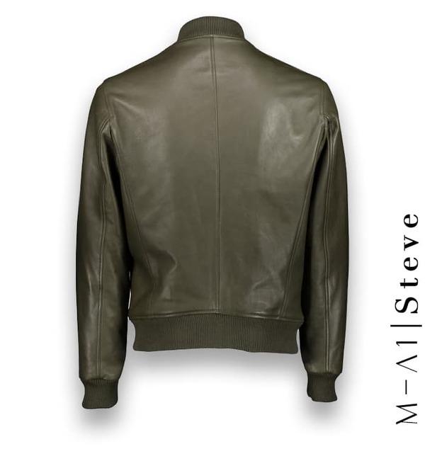 Blouson Cuir vert MA1 Steve costume privé paris fabrication sur mesure Italie