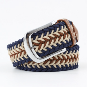 ceinture tressée tricolore bleu