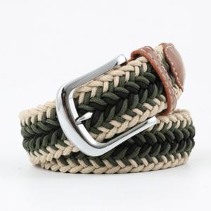 ceinture tressée tricolore vert kaki