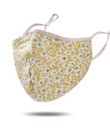 masque tissu jaune fleurs