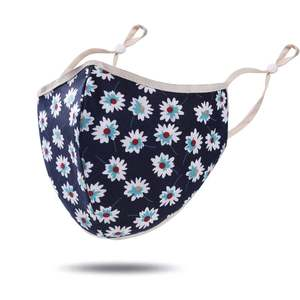 masque tissu bleu fleurs