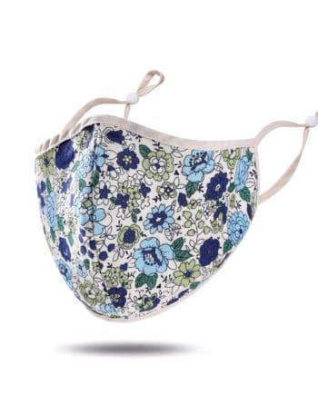 masque tissu bleu vert fleurs