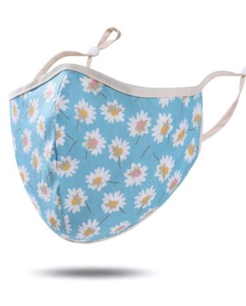 masque tissu bleu ciel fleurs