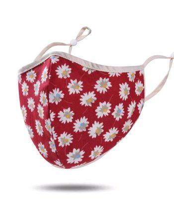 masque tissu rouge fleurs
