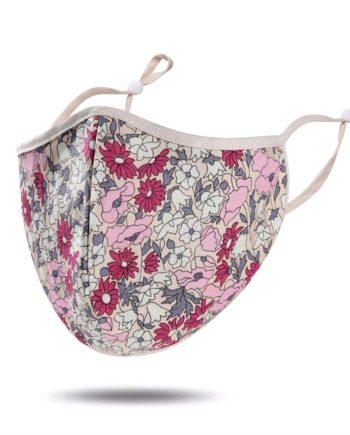 masque tissu rose fleurs