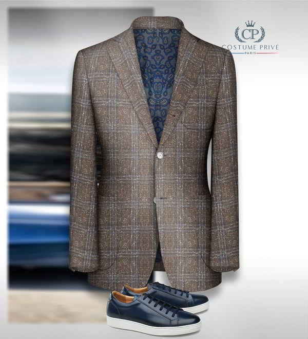 blazer brun tweed carreaux