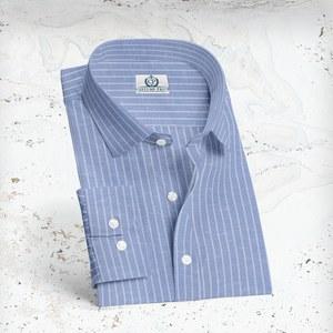 Chemise Bleu rayures coton lin